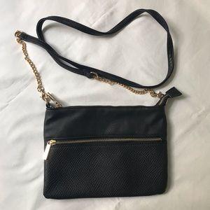 Black Handbag with Gold Details & Long Strap